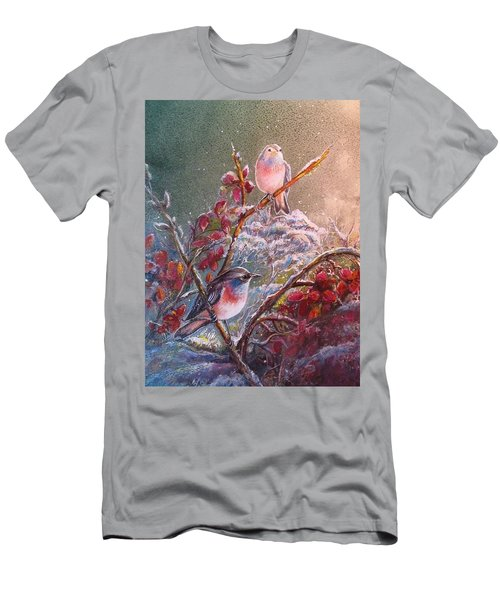 Bluethroat On The Tundra/ #3 Men's T-Shirt (Slim Fit) by PS Mitchell