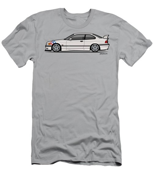 Bmw 3 Series E36 M3 Coupe Lightweight White With Checkered Flag Men's T-Shirt (Athletic Fit)