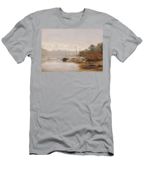 Boat Building Near Dinan, Brittany Men's T-Shirt (Athletic Fit)