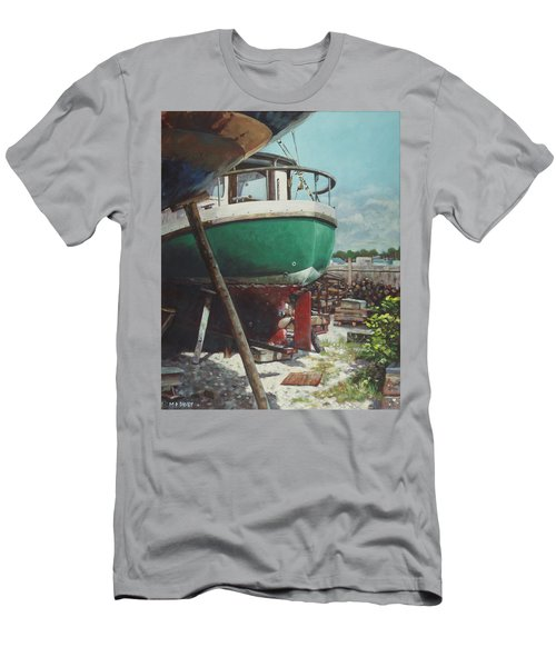 Men's T-Shirt (Athletic Fit) featuring the painting Boat Yard Boat 01 by Martin Davey