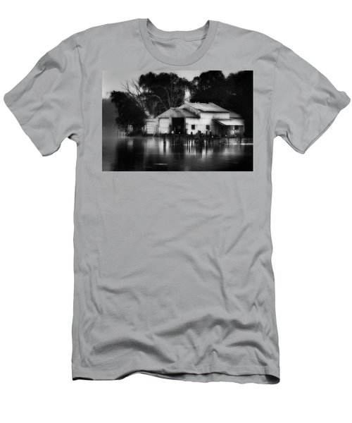 Men's T-Shirt (Slim Fit) featuring the photograph Boathouse Bw by Bill Wakeley