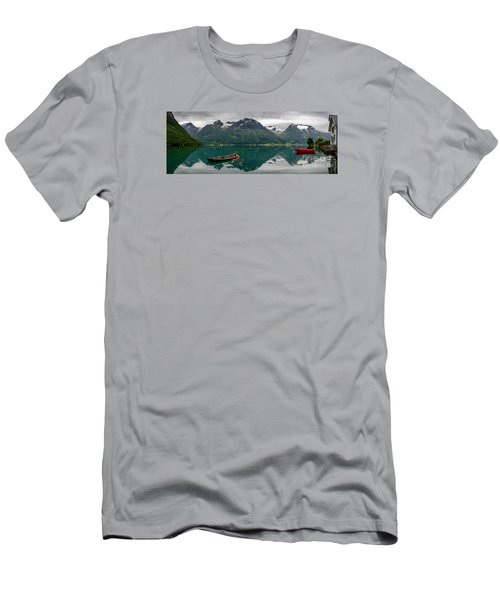Men's T-Shirt (Athletic Fit) featuring the photograph Boats And Mountain Reflection In The Water In Panorama by IPics Photography