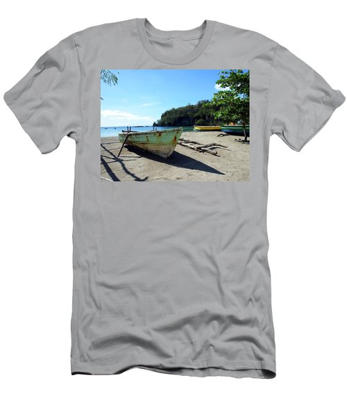 Men's T-Shirt (Slim Fit) featuring the photograph Boats At La Soufriere, St. Lucia by Kurt Van Wagner