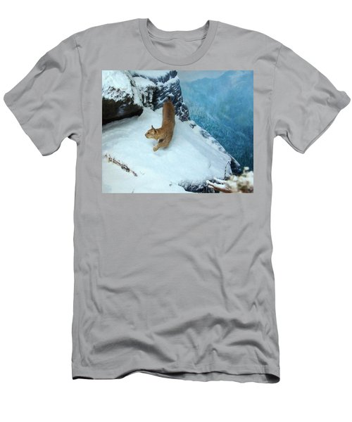 Men's T-Shirt (Slim Fit) featuring the digital art Bobcat On A Mountain Ledge by Chris Flees