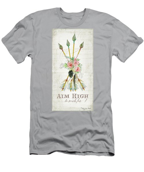 Men's T-Shirt (Athletic Fit) featuring the painting Boho Western Arrows N Feathers W Wood Macrame Feathers And Roses Aim High by Audrey Jeanne Roberts