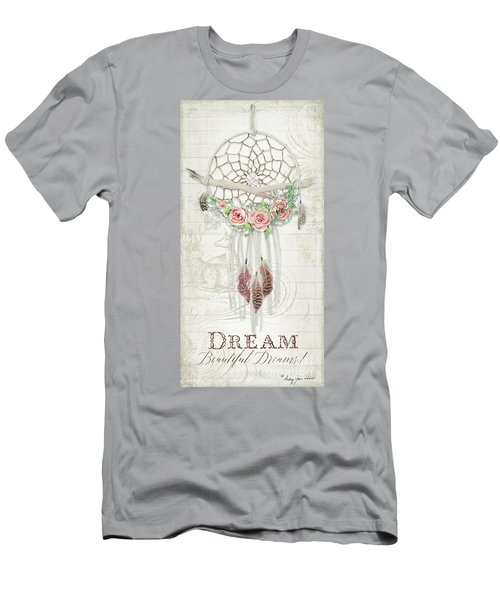 Men's T-Shirt (Athletic Fit) featuring the painting Boho Western Dream Catcher W Wood Macrame Feathers And Roses Dream Beautiful Dreams by Audrey Jeanne Roberts