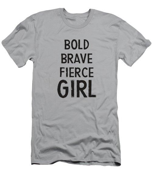 Bold Brave Fierce Girl- Art By Linda Woods Men's T-Shirt (Athletic Fit)
