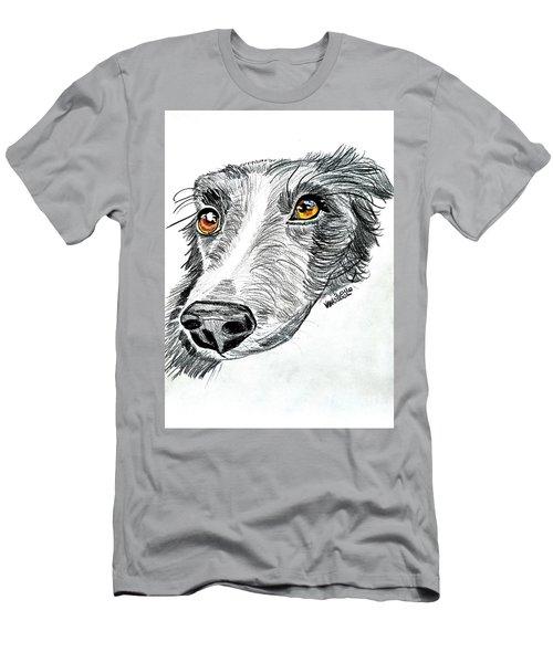 Border Collie Dog Colored Pencil Men's T-Shirt (Slim Fit) by Scott D Van Osdol