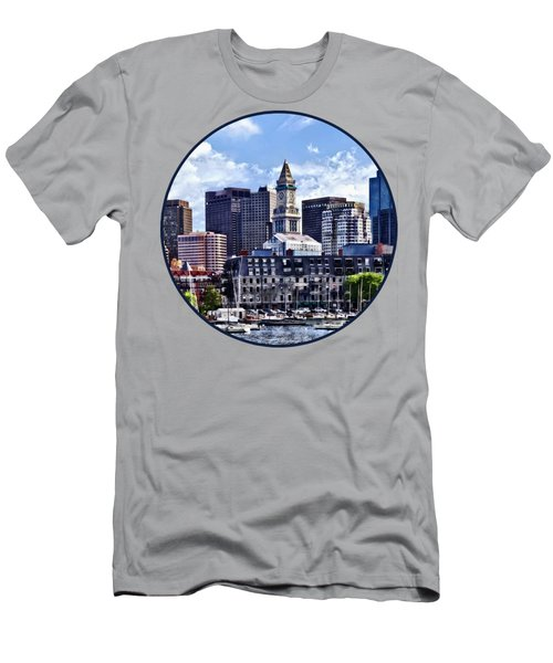Boston Ma - Skyline With Custom House Tower Men's T-Shirt (Athletic Fit)