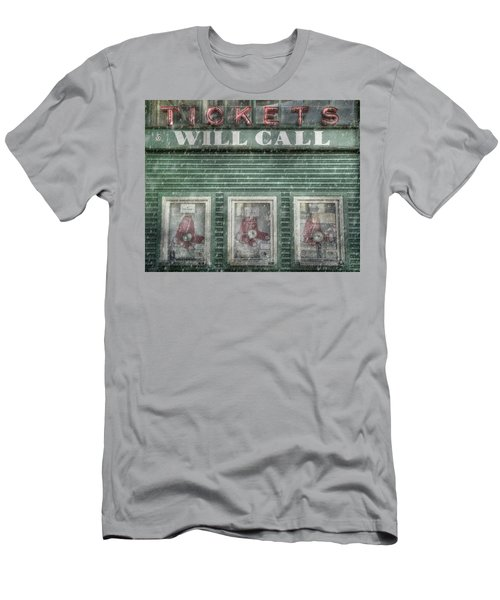 Men's T-Shirt (Slim Fit) featuring the photograph Boston Red Sox Fenway Park Ticket Booth In Winter by Joann Vitali