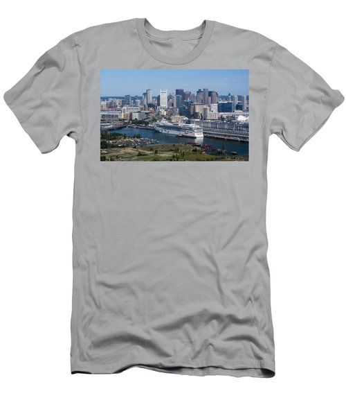 Boston Skyline With Ocean Liner Men's T-Shirt (Athletic Fit)