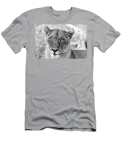 Botswana  Lioness In Black And White Men's T-Shirt (Athletic Fit)