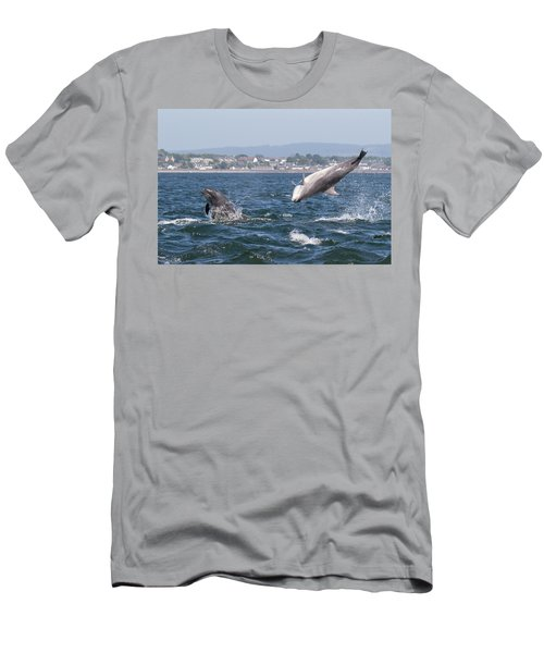 Men's T-Shirt (Athletic Fit) featuring the photograph Bottlenose Dolphins - Moray Firth Scotland #45 by Karen Van Der Zijden