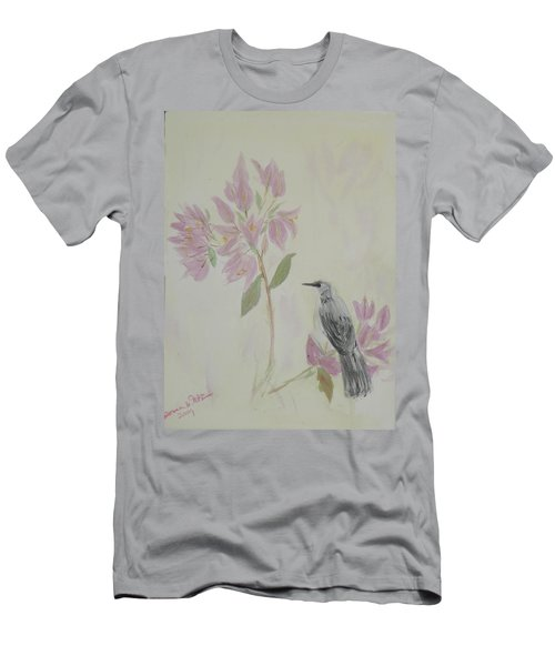Bougainvillea And Mockingbird Men's T-Shirt (Slim Fit) by Donna Walsh
