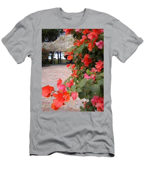Men's T-Shirt (Slim Fit) featuring the painting Bouganvilla 2 by Renate Nadi Wesley