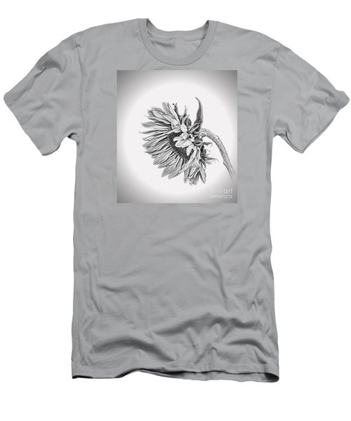 Bowed Sunflower Bw Men's T-Shirt (Slim Fit)