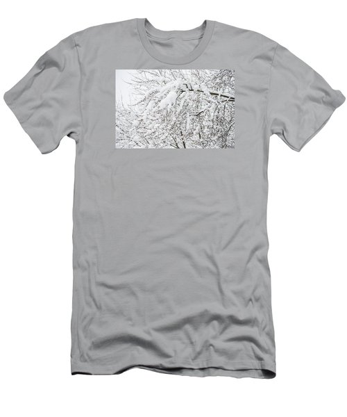 Branches Weighted With Snow Men's T-Shirt (Slim Fit) by Deborah Smolinske