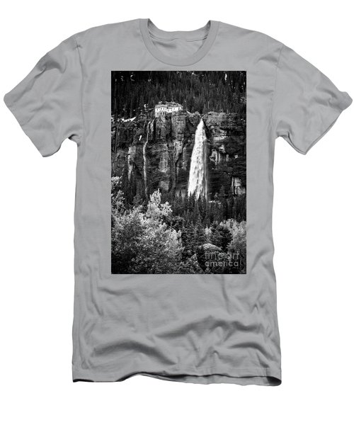 Bridal Veil Falls In Bw Men's T-Shirt (Athletic Fit)
