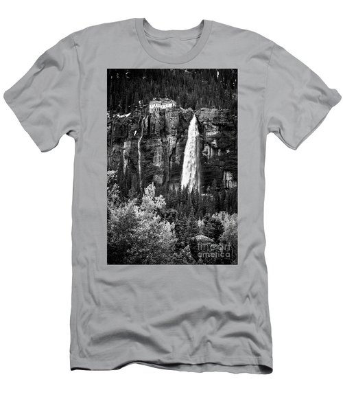 Bridal Veil Falls In Bw Men's T-Shirt (Athletic Fit)