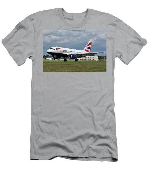 Men's T-Shirt (Slim Fit) featuring the photograph British Airways A318-112 G-eunb by Tim Beach