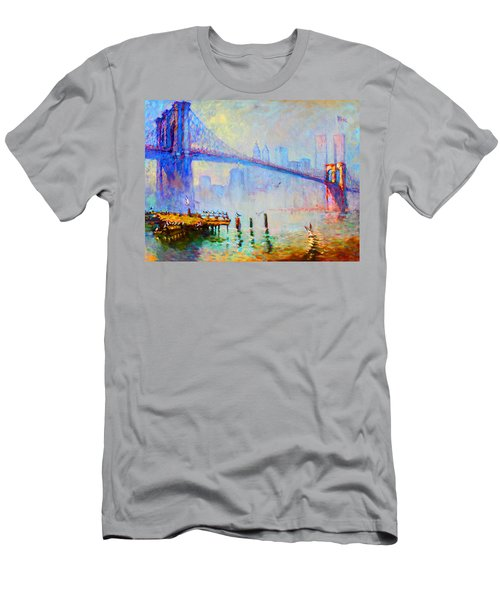 Brooklyn Bridge In A Foggy Morning Men's T-Shirt (Slim Fit) by Ylli Haruni