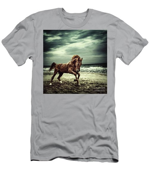 Brown Horse Galloping On The Coastline Men's T-Shirt (Athletic Fit)