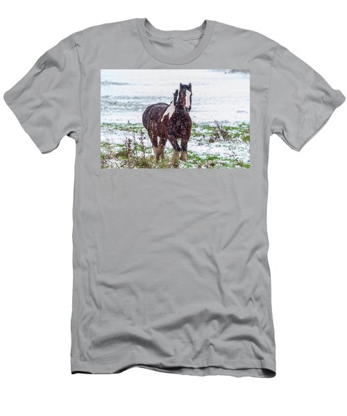 Brown Horse Galloping Through The Snow Men's T-Shirt (Athletic Fit)
