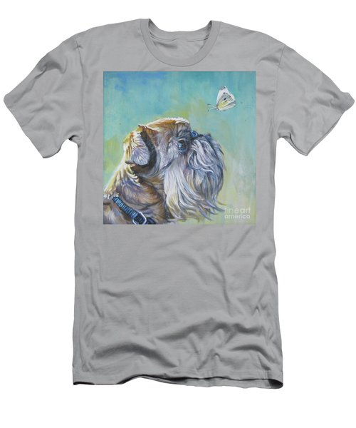 Brussels Griffon With Butterfly Men's T-Shirt (Slim Fit) by Lee Ann Shepard