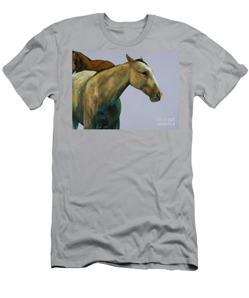 Men's T-Shirt (Slim Fit) featuring the painting Buckskin by Frances Marino