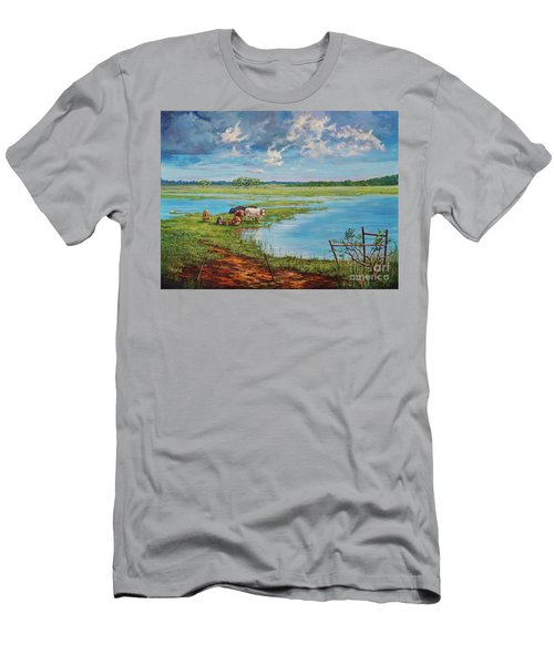 Men's T-Shirt (Slim Fit) featuring the painting Bucolic St. John's by AnnaJo Vahle