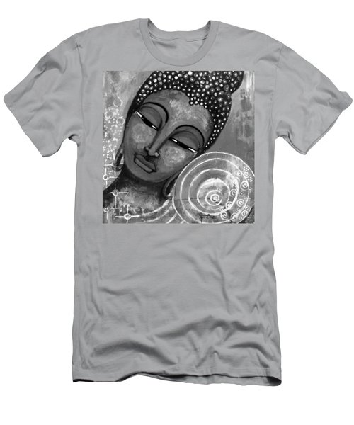 Men's T-Shirt (Slim Fit) featuring the mixed media Buddha In Grey Tones by Prerna Poojara