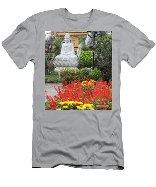 Buddha Red Flowers  Men's T-Shirt (Athletic Fit)