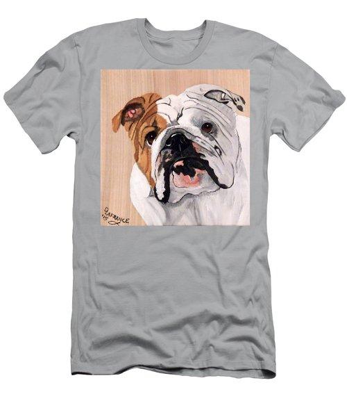 Bulldog On Wood Men's T-Shirt (Athletic Fit)
