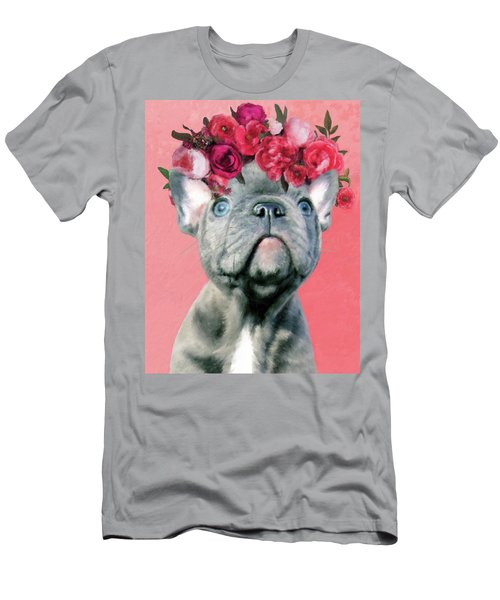Bulldog With Flowers Men's T-Shirt (Athletic Fit)