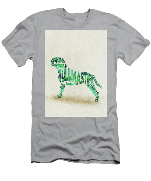 Men's T-Shirt (Athletic Fit) featuring the painting Bullmastiff Watercolor Painting / Typographic Art by Ayse and Deniz