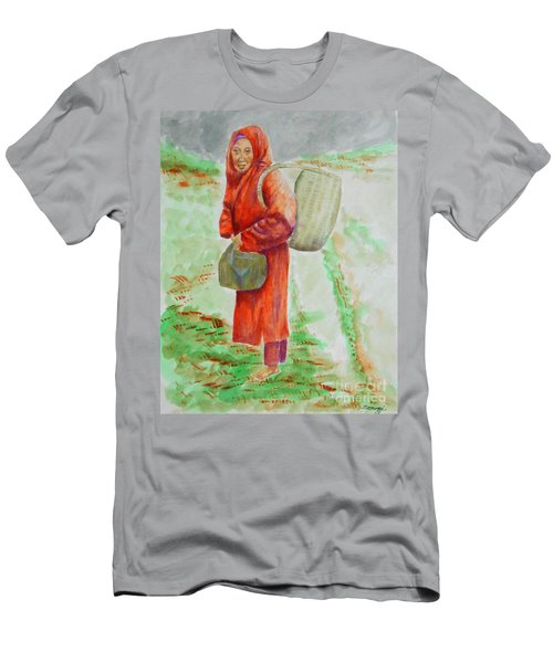 Bundled And Barefoot -- Portrait Of Old Asian Woman Outdoors Men's T-Shirt (Athletic Fit)