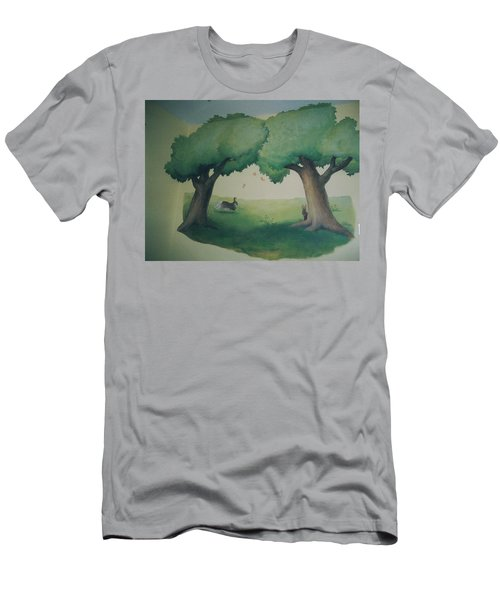 Bunnies Running Under Trees Men's T-Shirt (Athletic Fit)