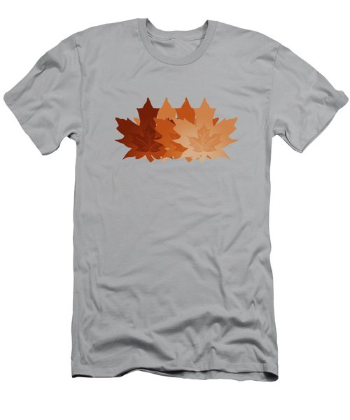 Men's T-Shirt (Slim Fit) featuring the digital art Burnt Sienna Autumn Leaves by Methune Hively