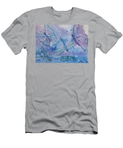 Men's T-Shirt (Slim Fit) featuring the painting Butterflies And Dragonflies by Ellen Levinson