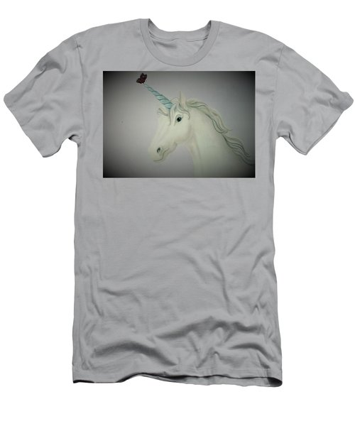 Butterfly Resting On Unicorn Men's T-Shirt (Athletic Fit)