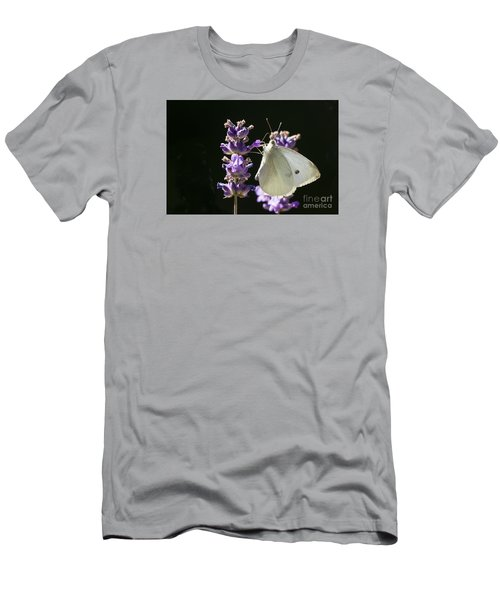 Men's T-Shirt (Slim Fit) featuring the photograph Cabbage White Butterfly On Lavender by Inge Riis McDonald
