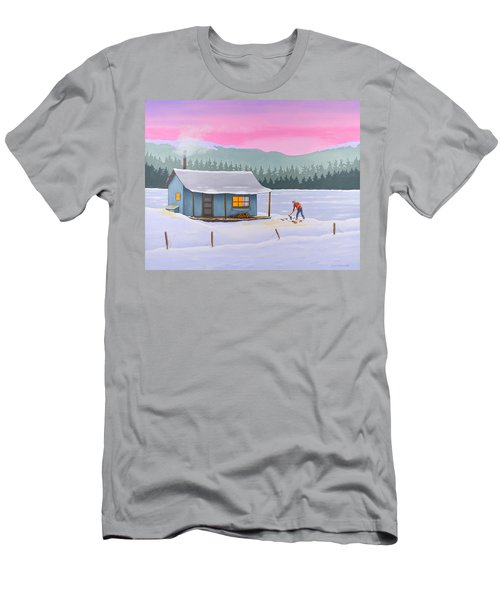 Cabin On A Frozen Lake Men's T-Shirt (Athletic Fit)