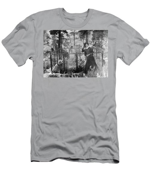 Men's T-Shirt (Slim Fit) featuring the photograph Calamity Jane At Wild Bill Hickok's Grave 1903 by Daniel Hagerman