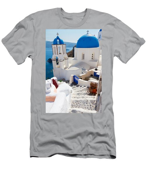Caldera With Stairs And Church At Santorini Men's T-Shirt (Slim Fit) by Anastasy Yarmolovich