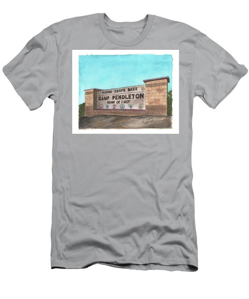 Men's T-Shirt (Athletic Fit) featuring the painting Camp Pendleton Welcome by Betsy Hackett