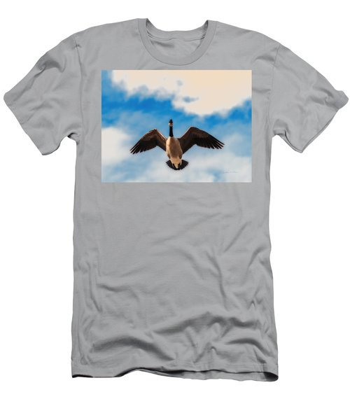 Men's T-Shirt (Slim Fit) featuring the photograph Canada Geese In Spring by Edward Peterson
