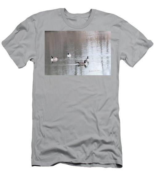 Men's T-Shirt (Slim Fit) featuring the photograph Canada Geese Swing by Edward Peterson