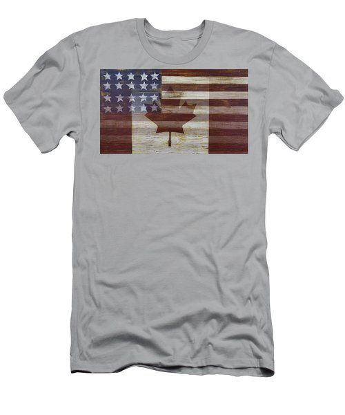 Canadian American Flag Men's T-Shirt (Athletic Fit)