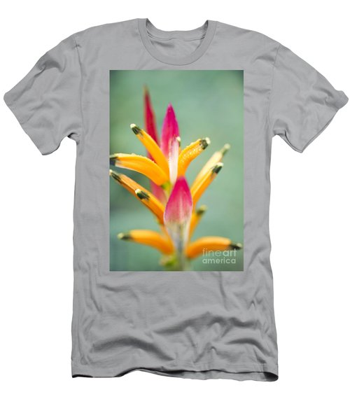 Men's T-Shirt (Athletic Fit) featuring the photograph Candy Colours - Heliconia Tropical Flower by Sharon Mau