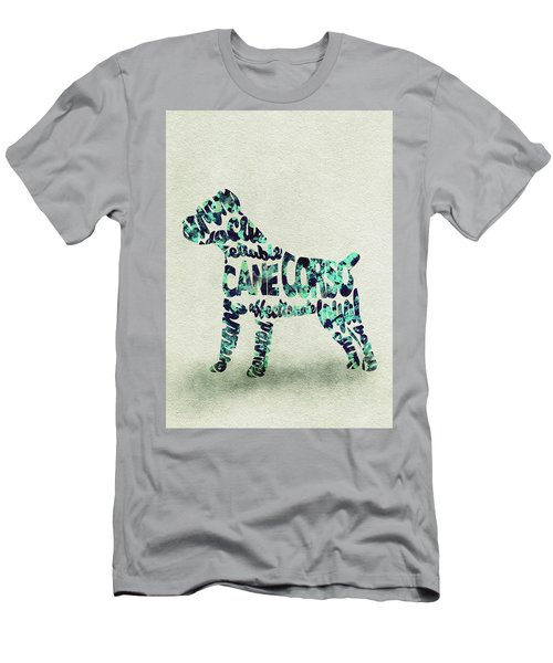 Cane Corso Watercolor Painting / Typographic Art Men's T-Shirt (Athletic Fit)
